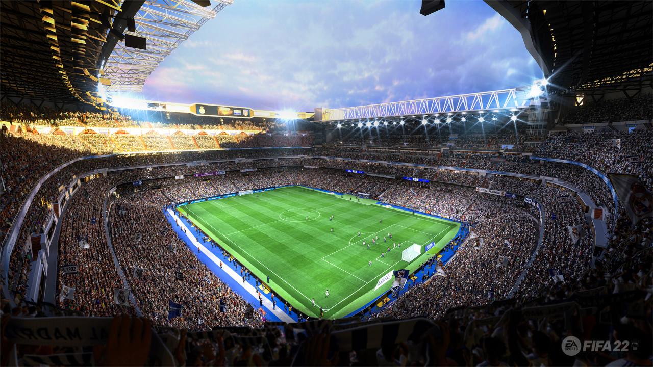 Screenshot z gry fifa 22, czyli poprzednika EA Sports FC pokazujący stadion piłkarski z kibicami