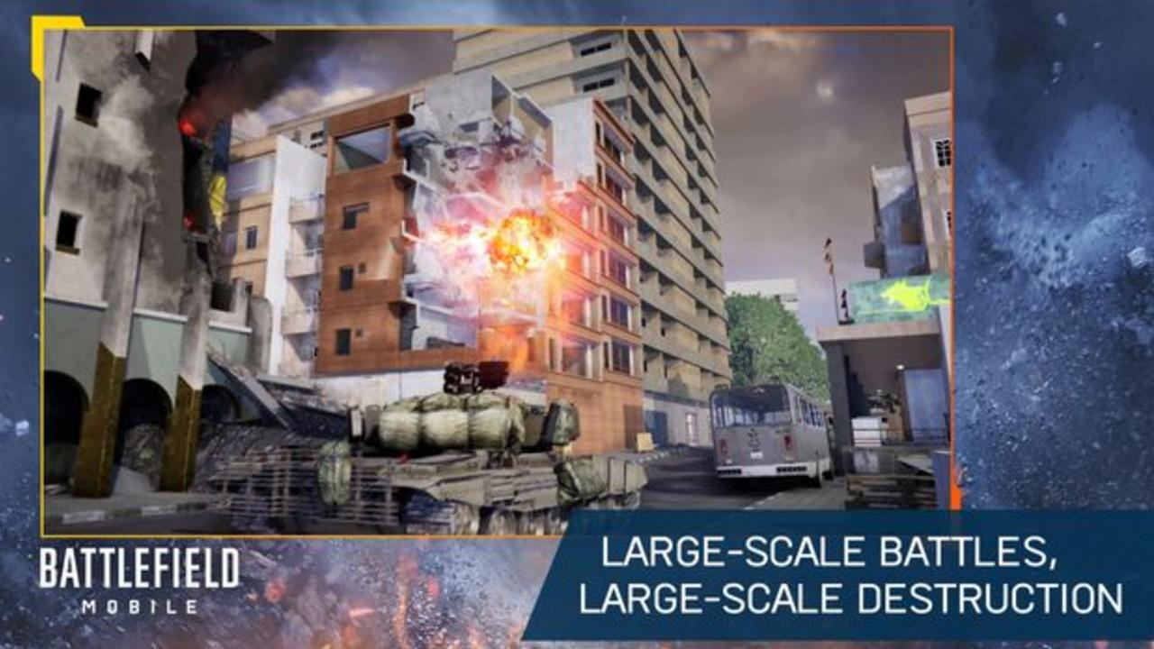 Battlefield Mobile na Android screenshoot z gry wojennej z destrukcją otoczenia