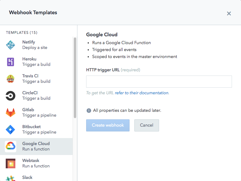 google cloud webhook template