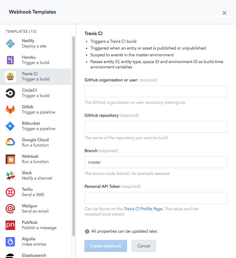 travis CI webhook template
