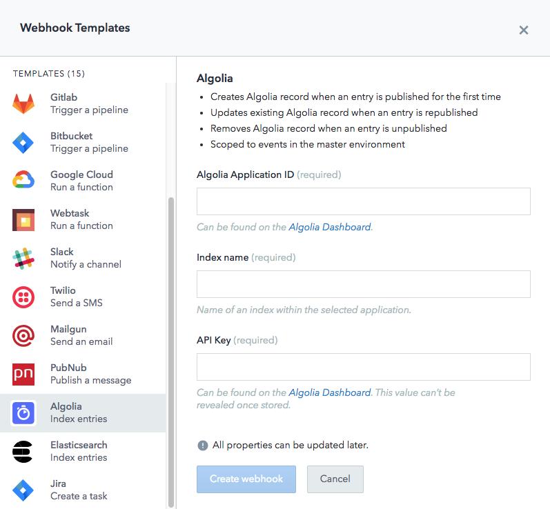 algolia webhook template