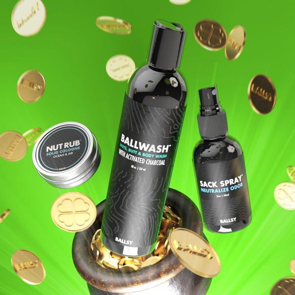 Gold coins falling around a can of Nut Rub, a bottle of Ballwash, and a bottle of Sack Spray