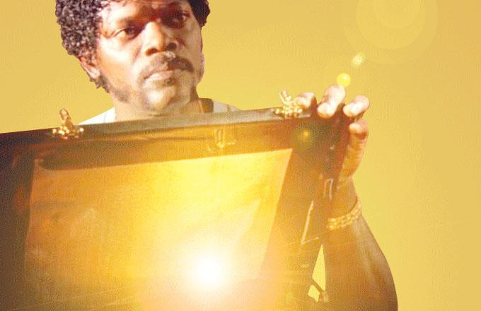 From a scene in the movie Pulp Fiction, Samuel L. Jackson opens a box to reveal something golden and glowing inside