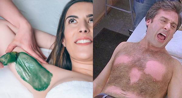Left: A woman smiles during a waxing treatment. Right: Steve Carell grimaces in pain while getting his chest waxed.