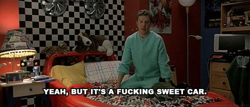 Nick Swardson proclaiming that his car bed is 'a fucking sweet car.'