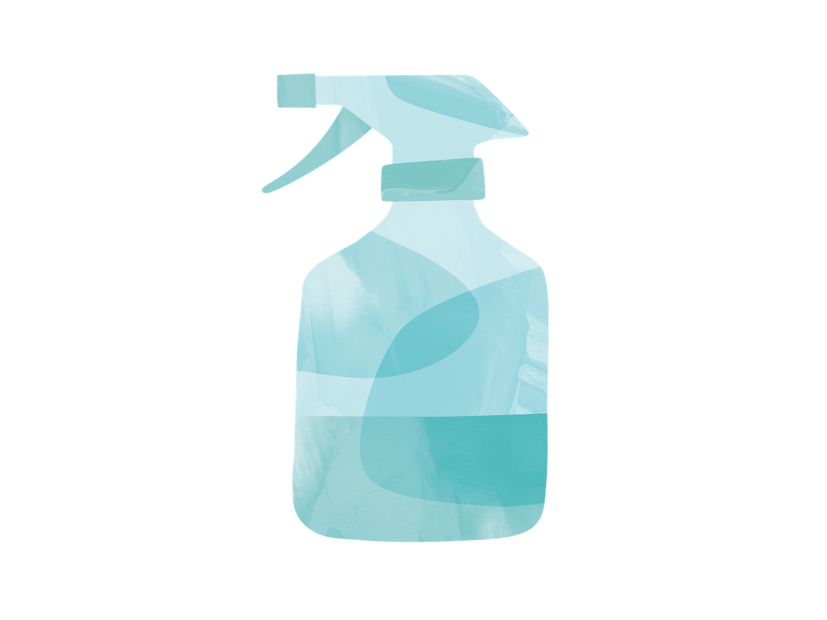 illustration of blue spray bottle