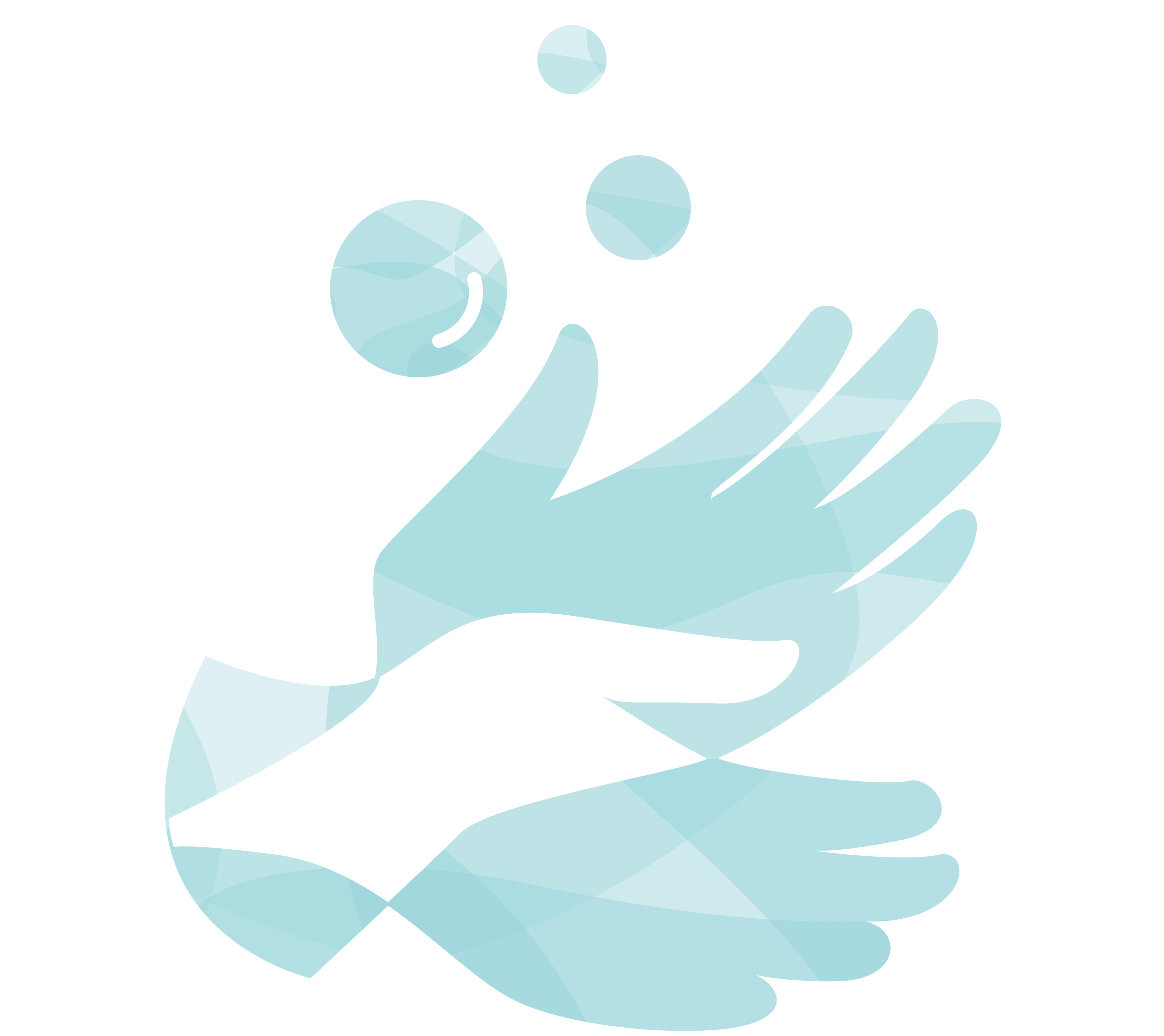 A light blue illustration of hands washing blood out of clothes.