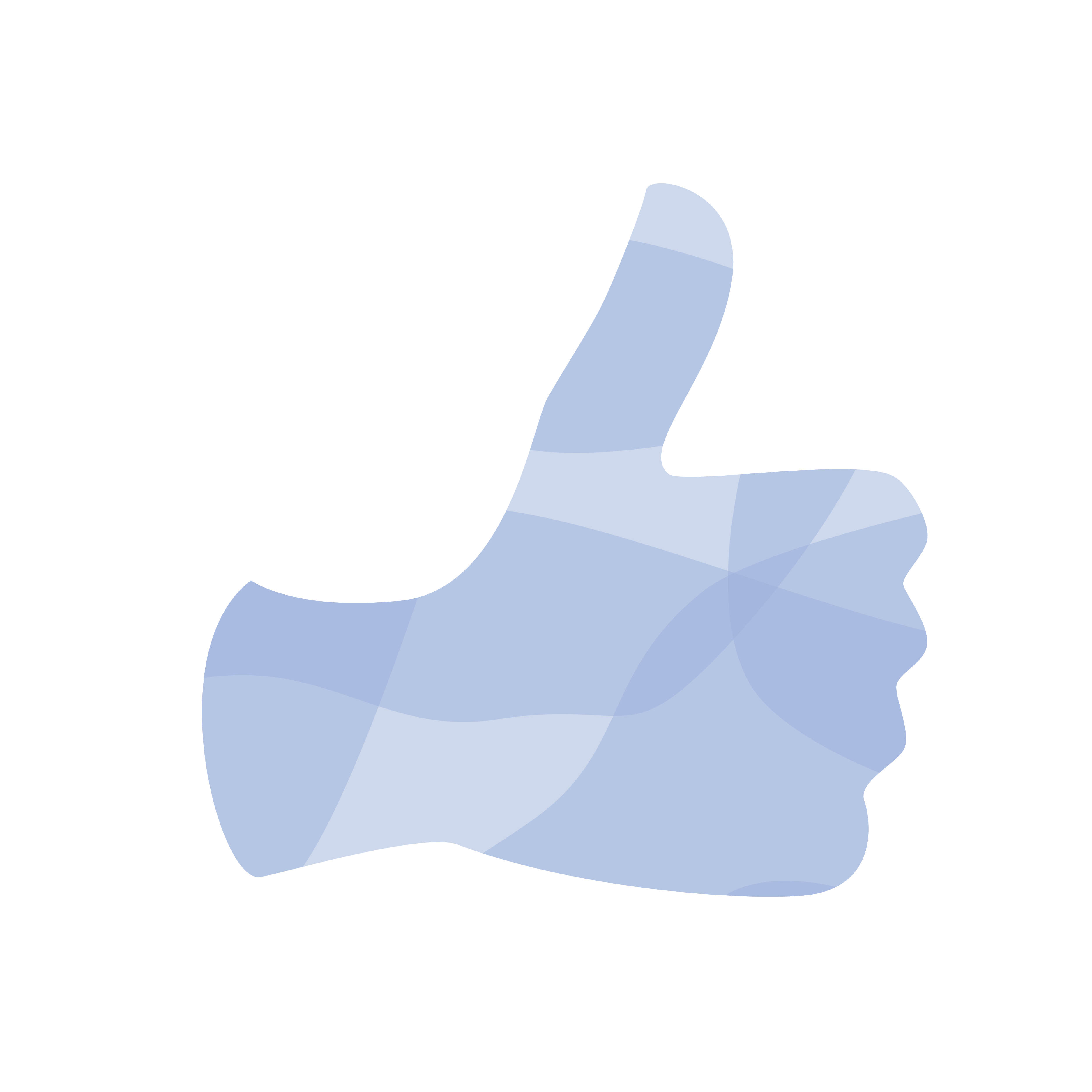 Light purple illustration of a thumbs up
