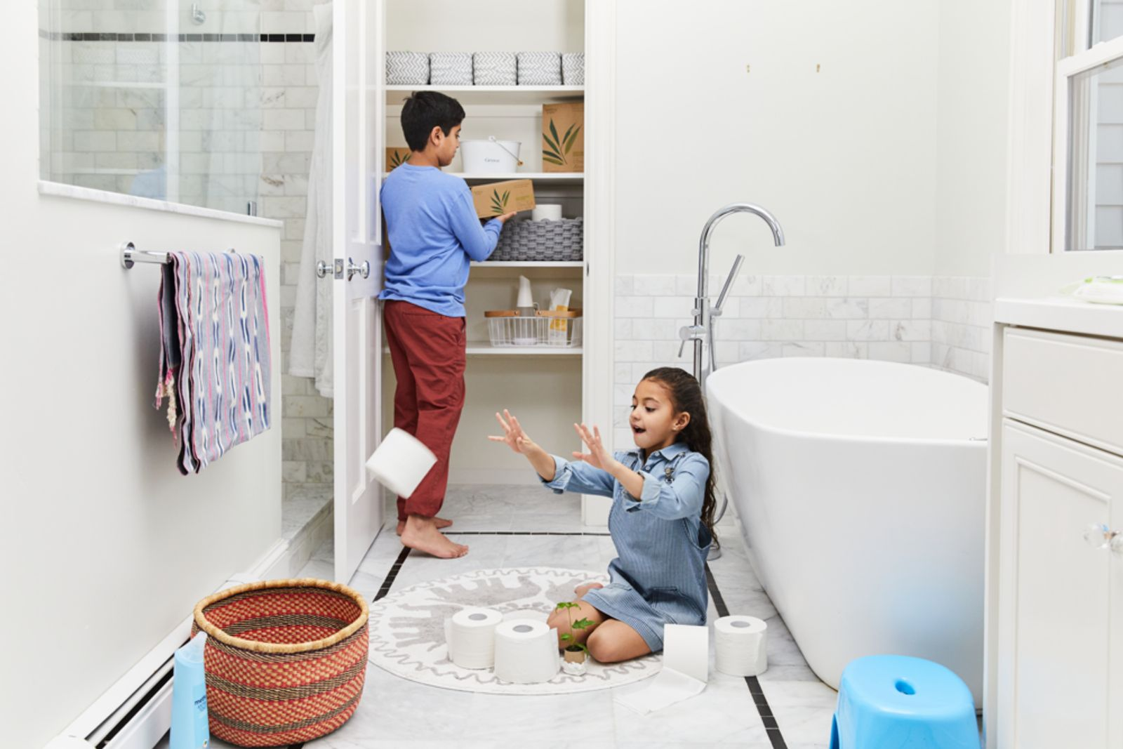 Children playing in bathroom