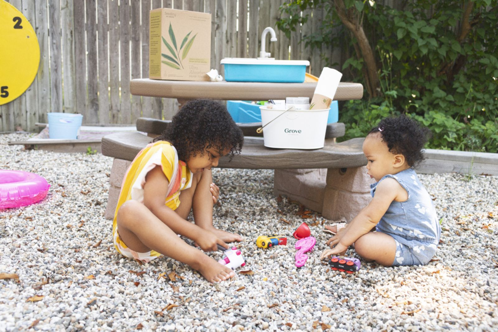 Kids playing with toys outside
