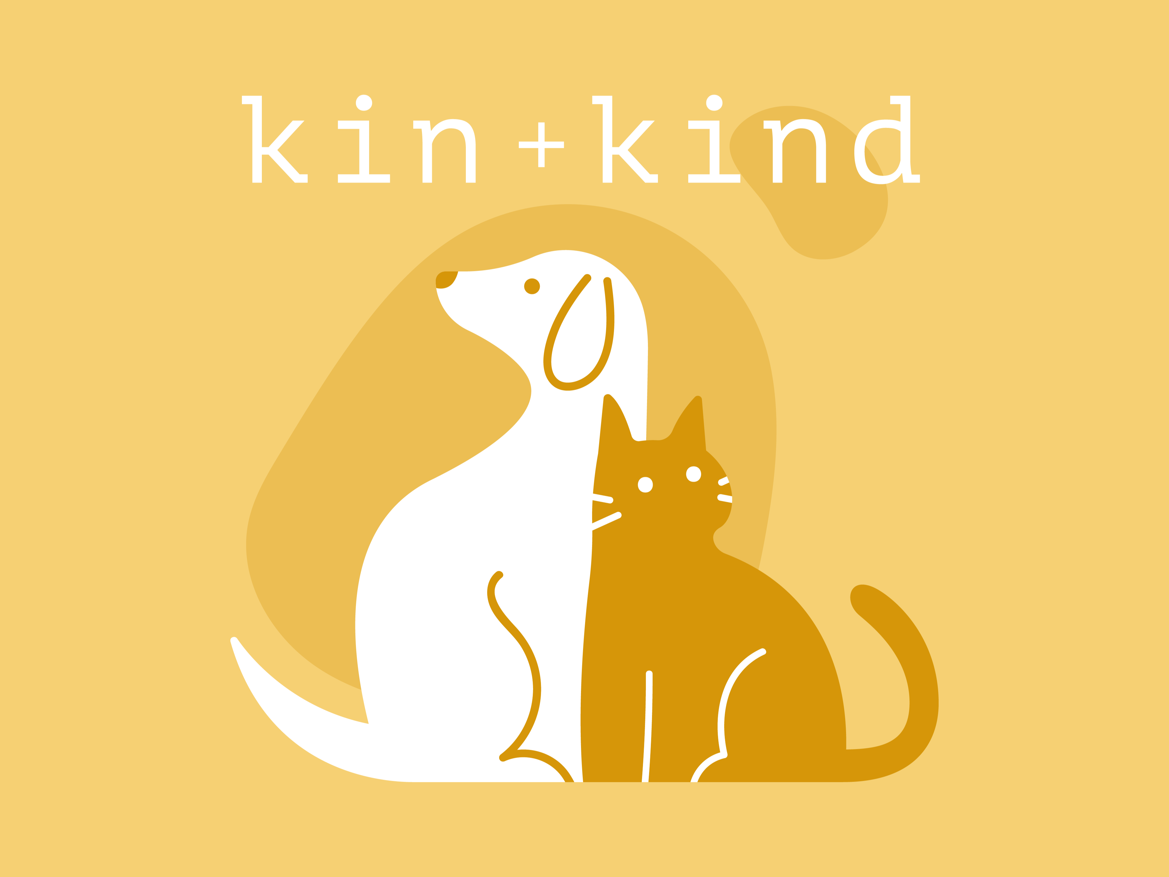 kin + kind brand logo in yellow with illustration of dog and cat under brand name