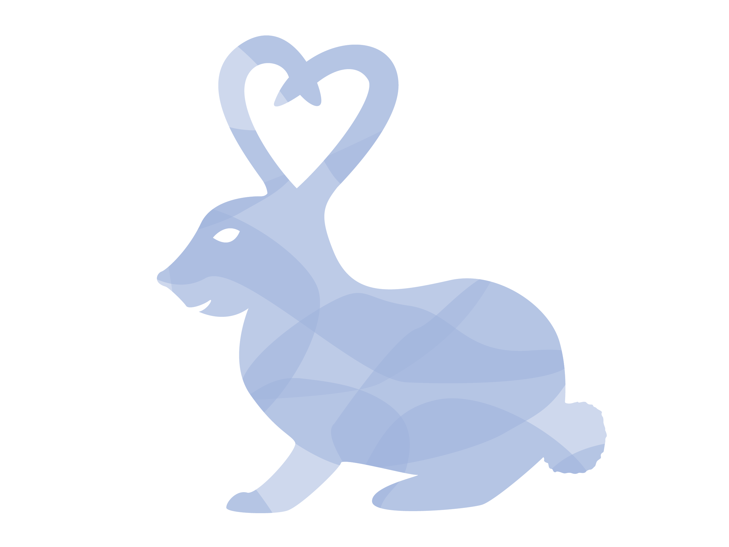 Illustration of blue bunny with ears up that make a heart shape