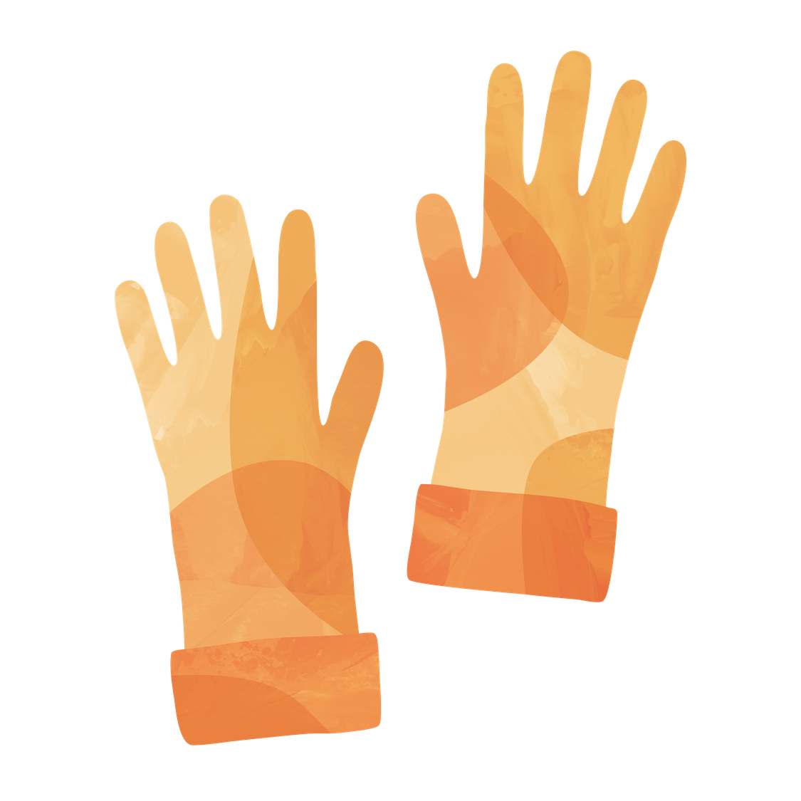An orange illustration of gloves to wear while washing blood out of clothes
