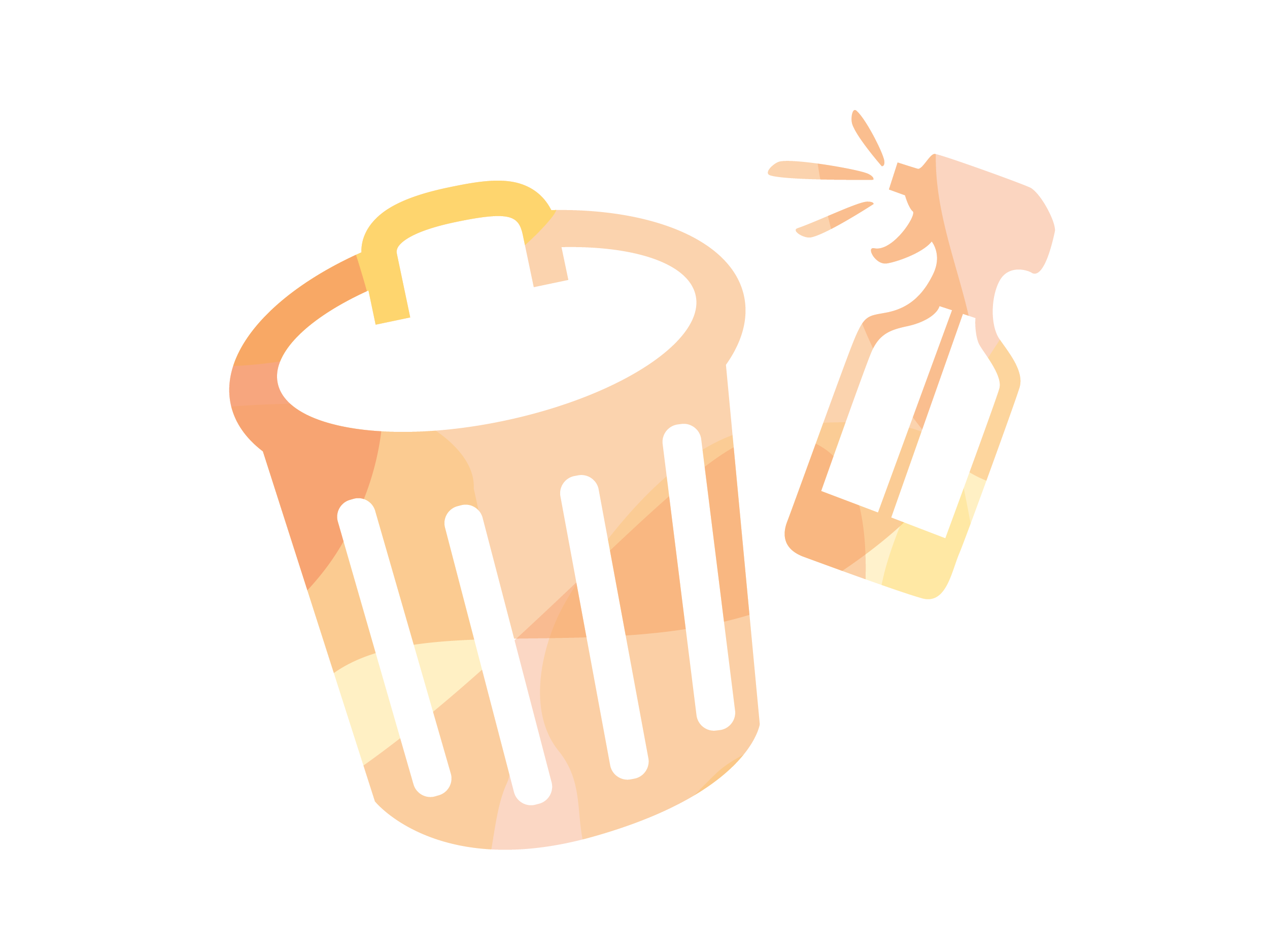 Trash can and spray bottle illustration