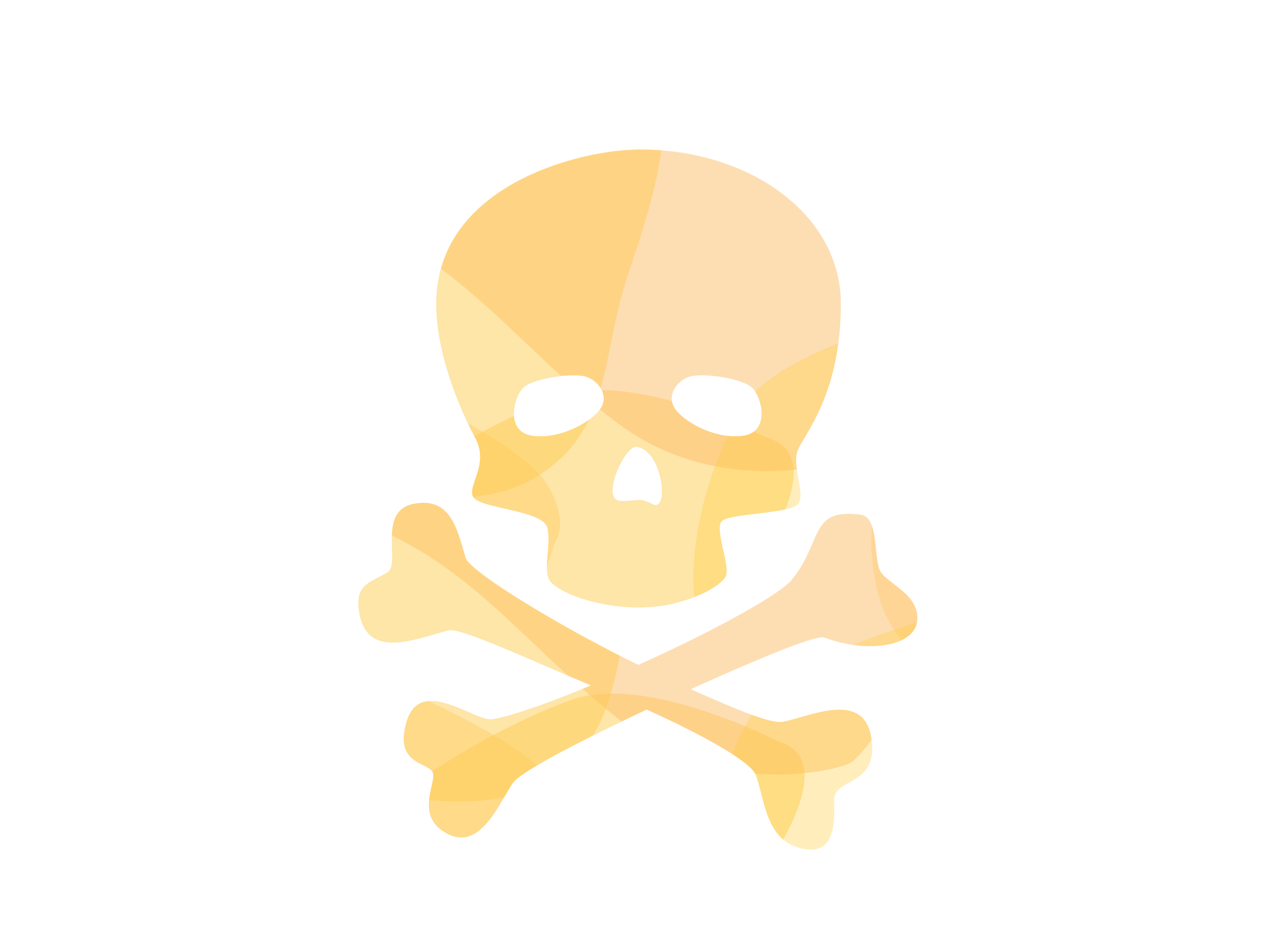 Yellow skull and crossbones illustration