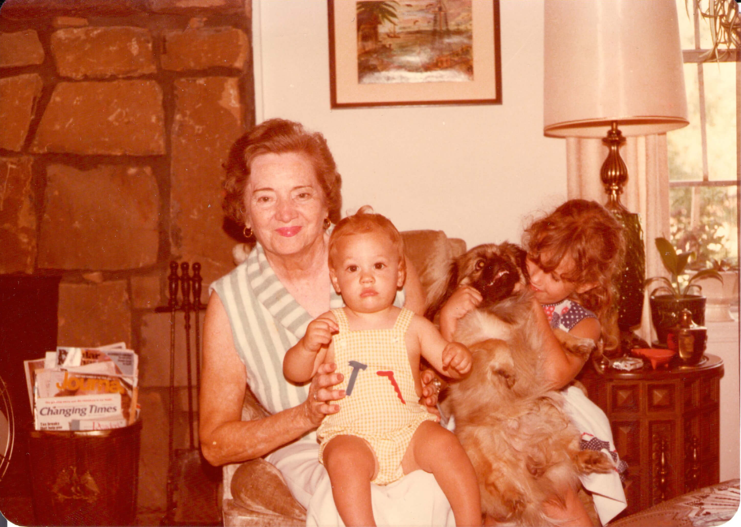 Elizabeth's Aunt Bee with Alex, Buddy the Pekingese, and Amelia.