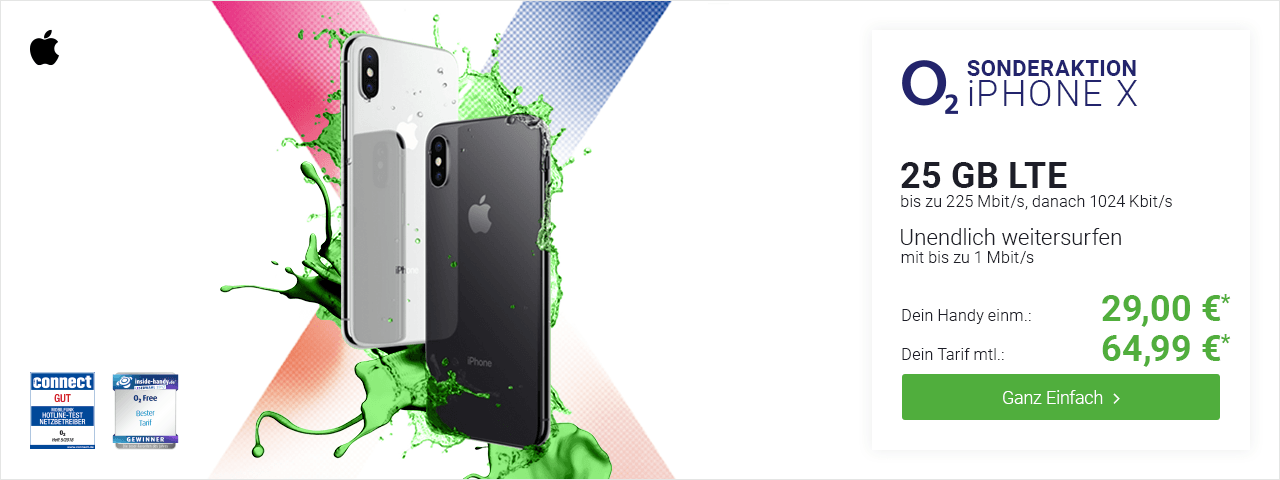 Apple iPhone X 29€ mit o2 Free XL (plus) 64,99€