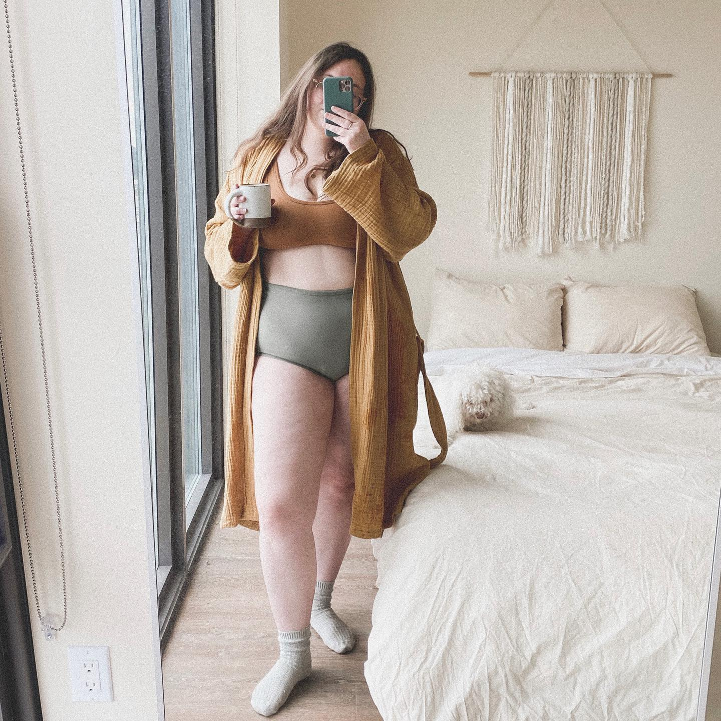 instagram user @laurenmarigold in our ochre cloud cotton robe