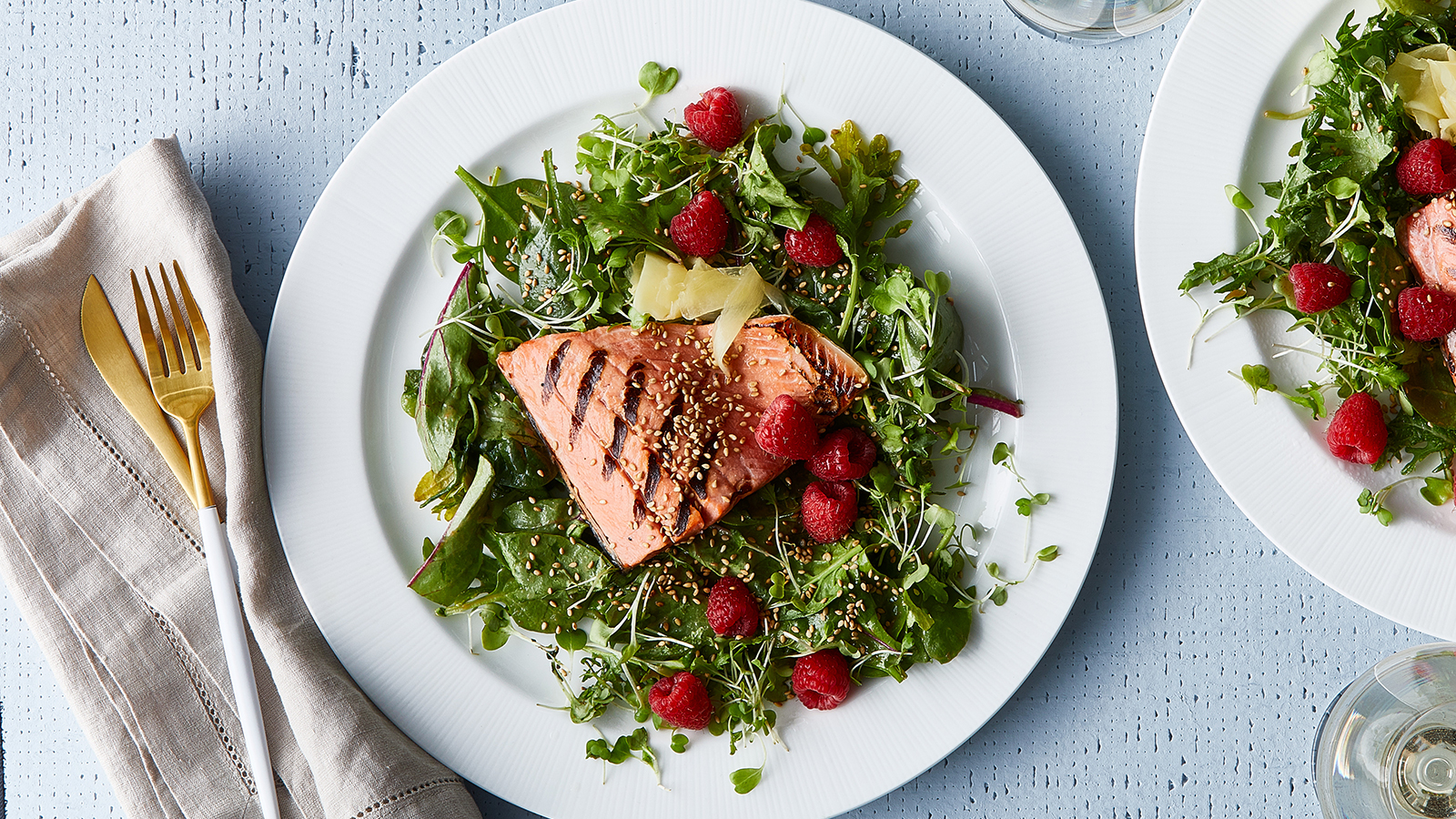 Grilled Salmon with Raspberry Wasabi Salad