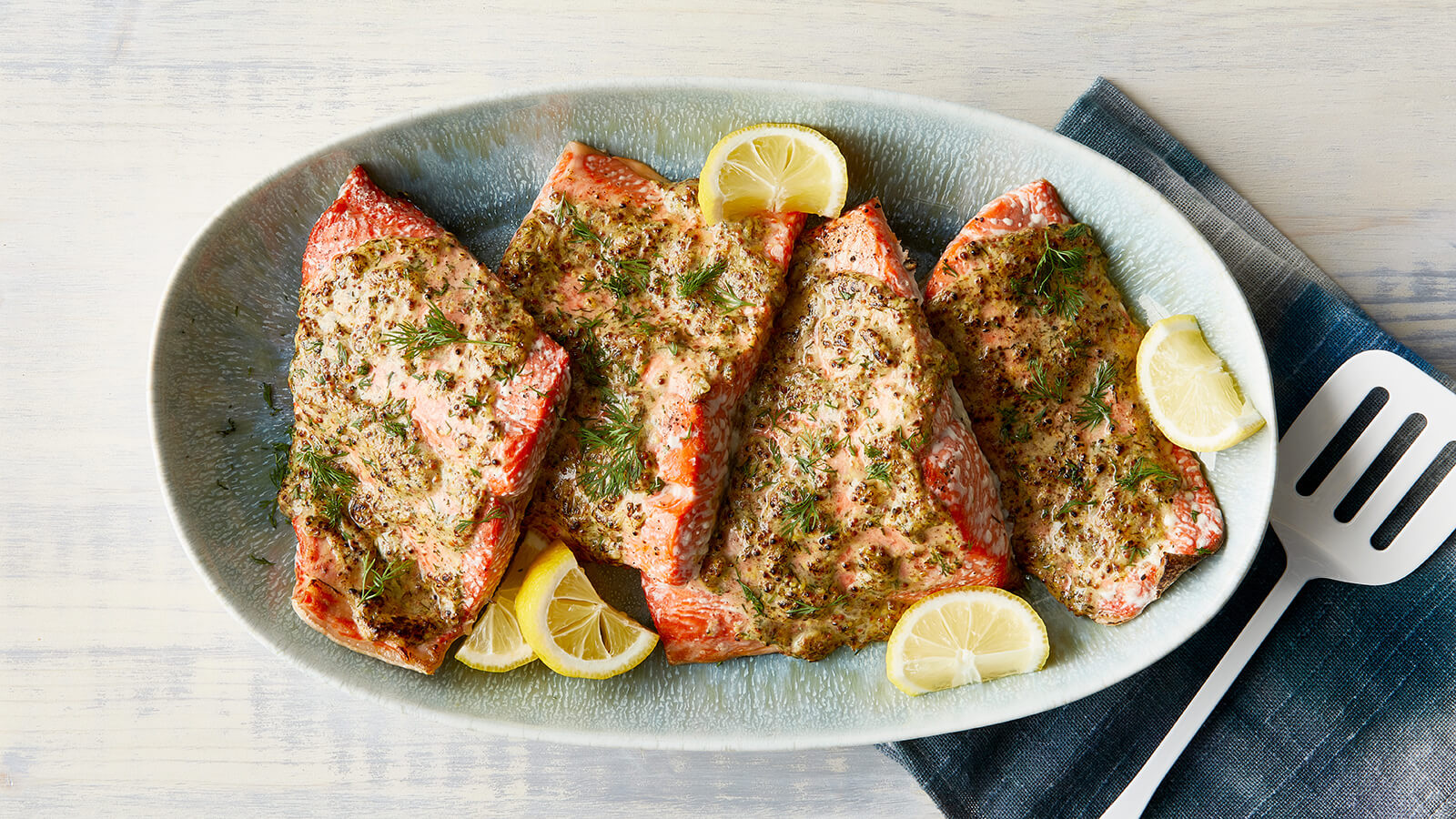 Roasted Salmon with Mustard, Lemon and Dill