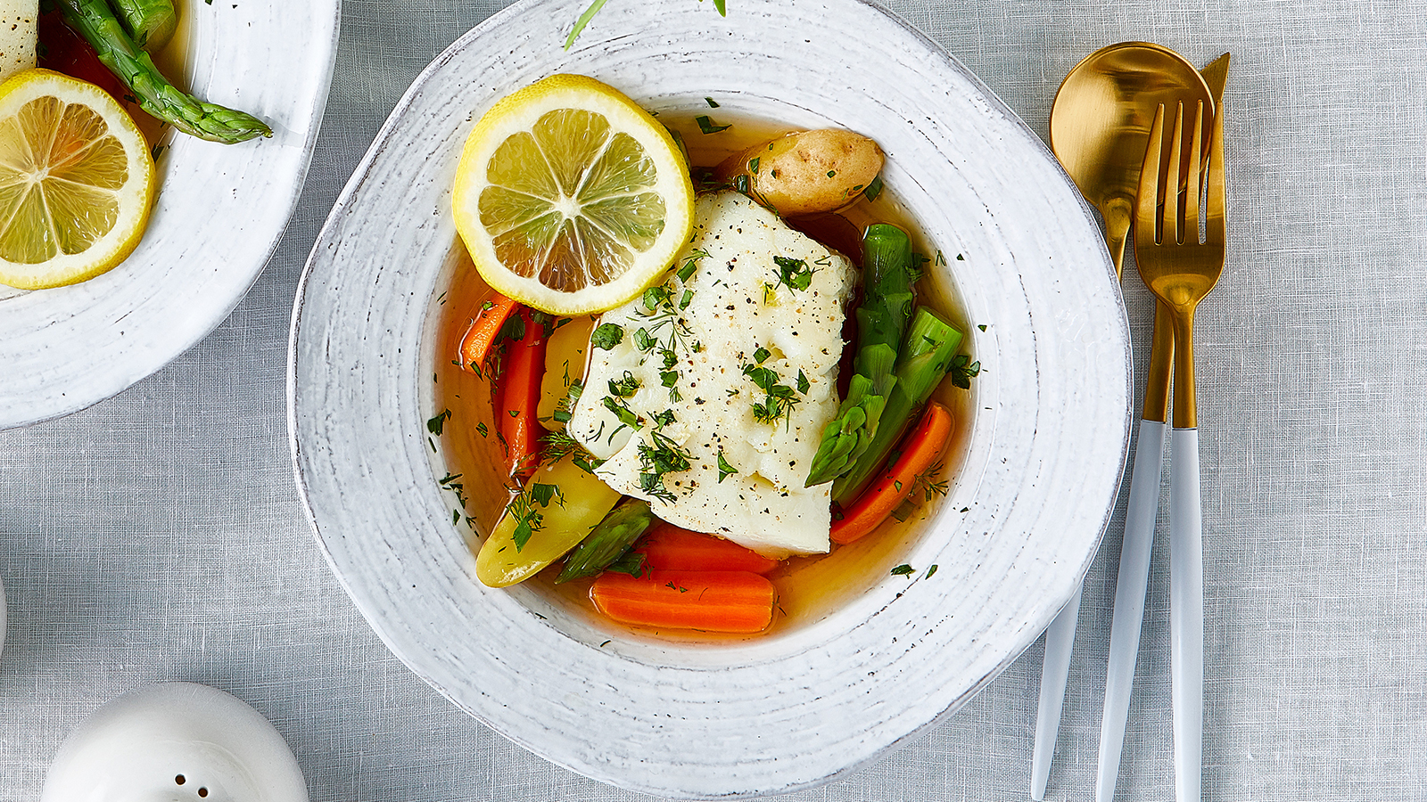 Roasted Cod with Spring Vegetables and Herbs