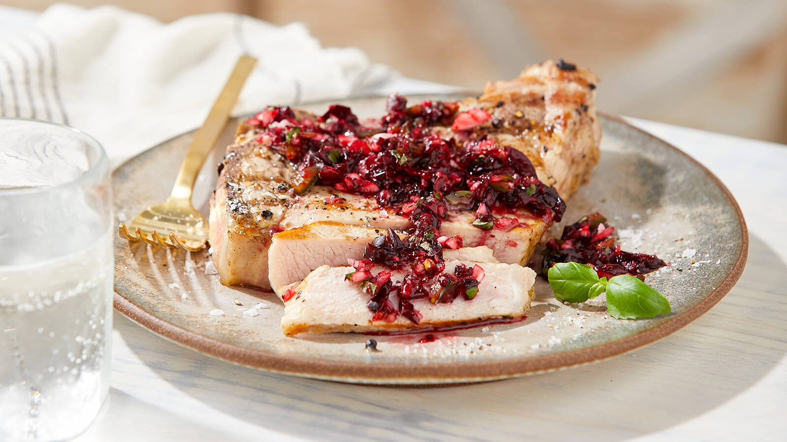 Grilled Pork Chops with Cherry Basil Salsa