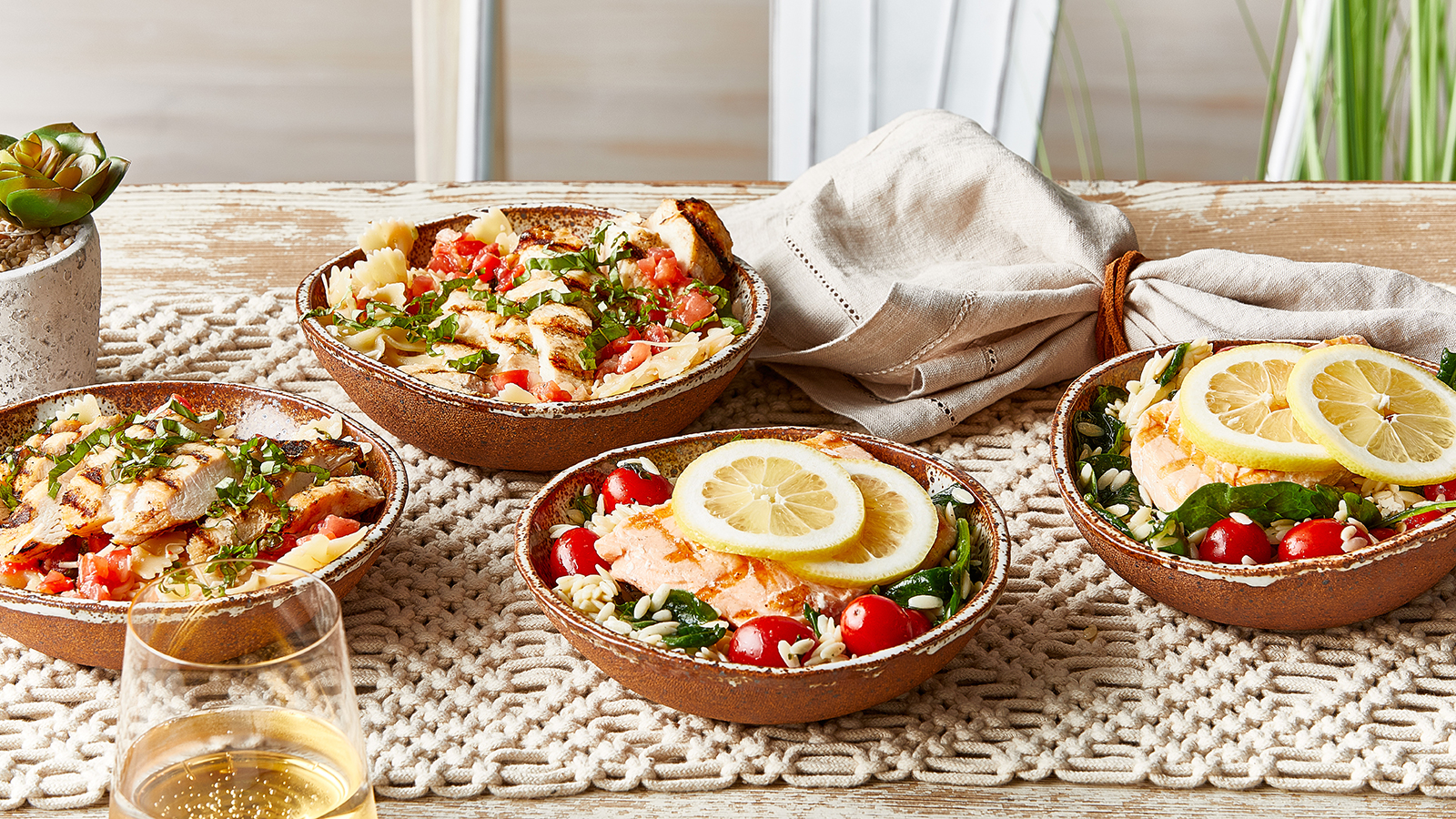 Grilled Salmon with Lemon Orzo Summer Bowl & Grilled Chicken Brushetta Summer Bowl