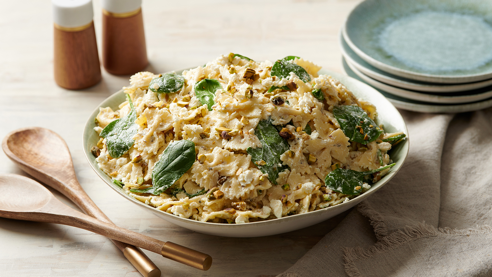 Lemon Farfalle Salad with Pistachios and Spinach