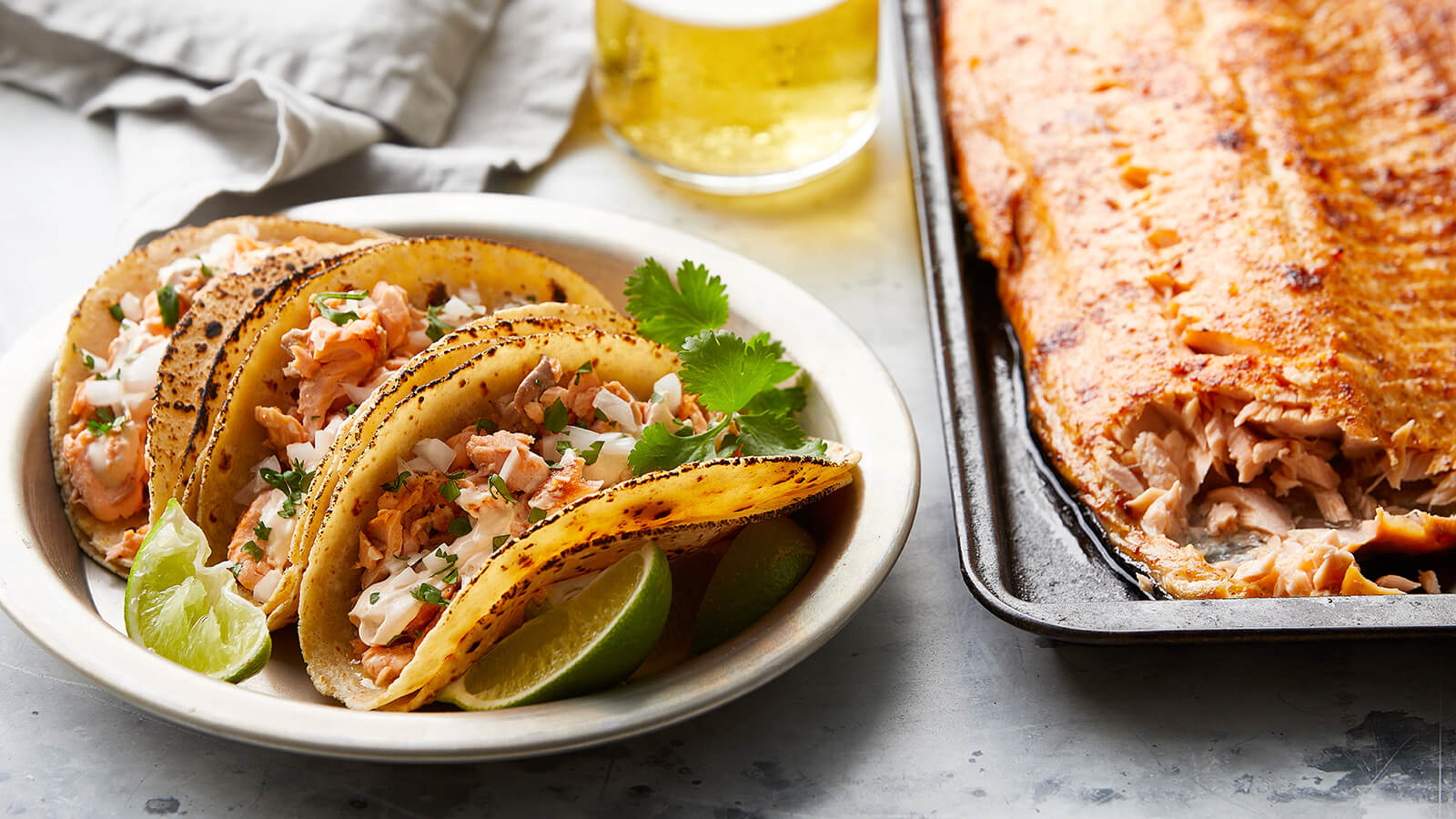 Blackened Salmon Tacos with Chipotle Crema