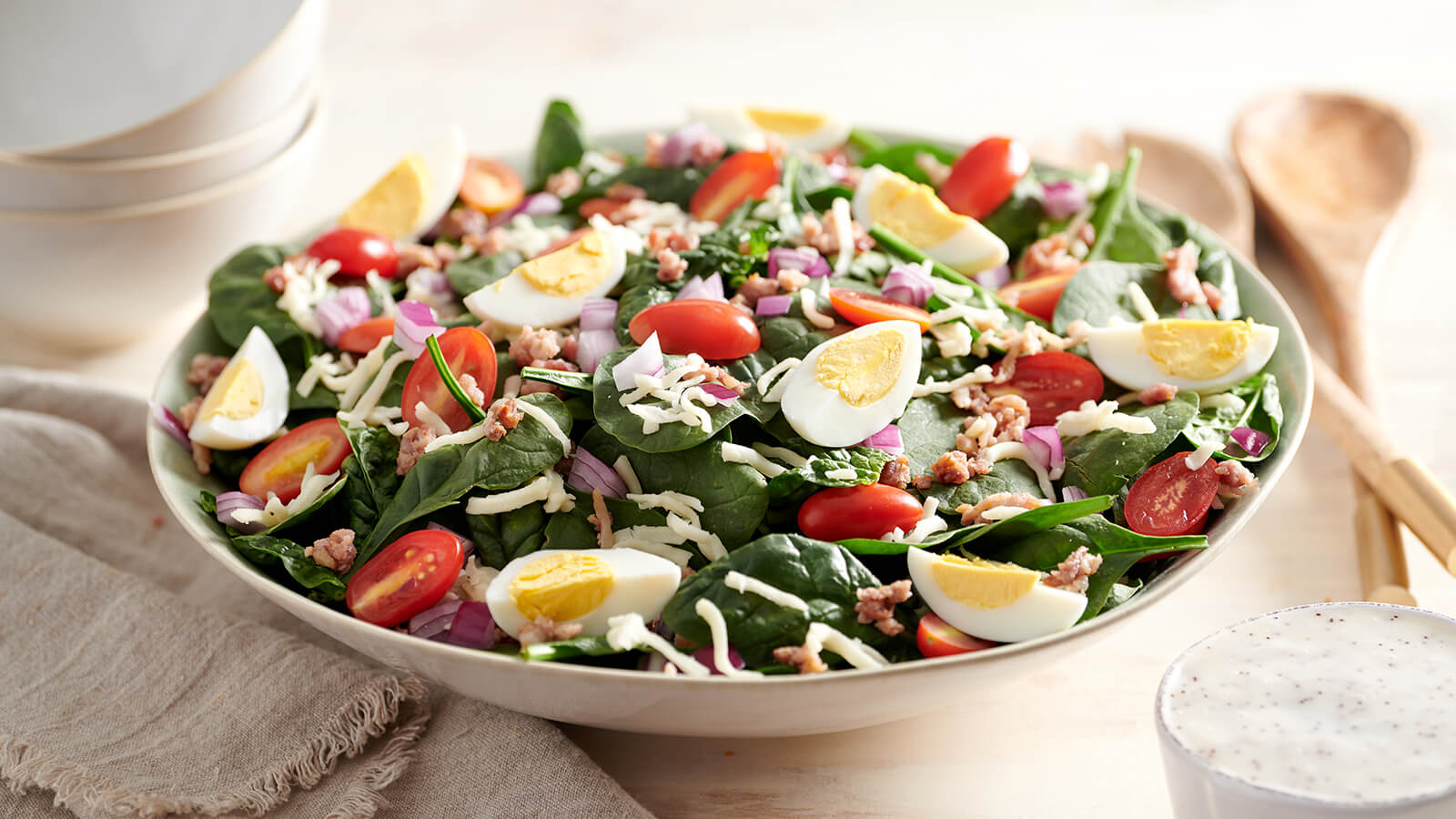 Spinach Bacon Poppyseed Party Salad