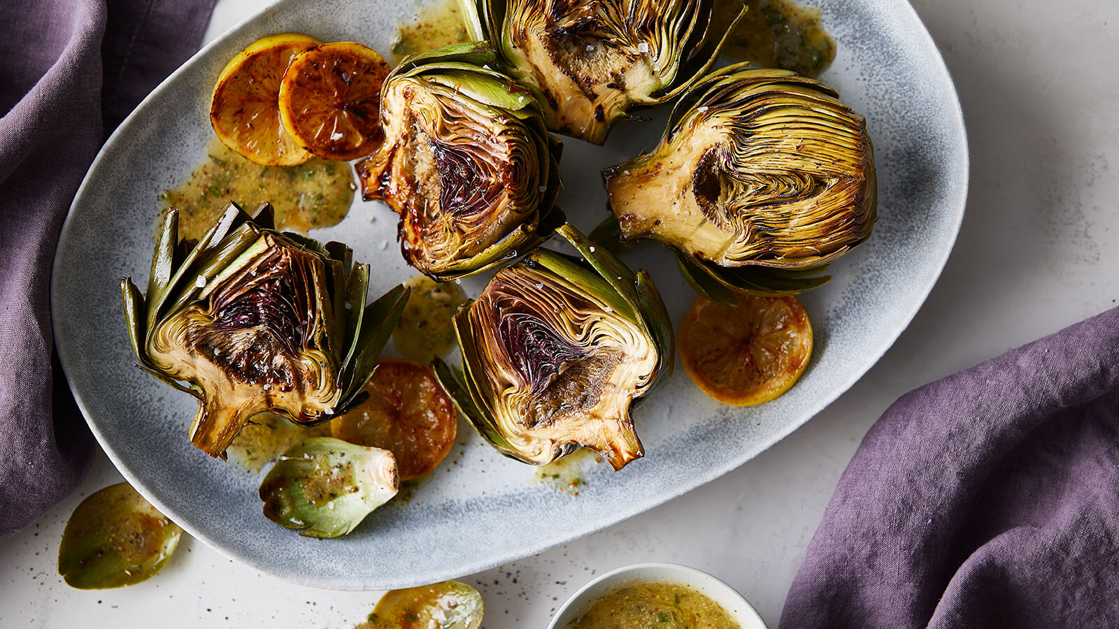 Giant Artichokes with Mustard Herb Vinaigrette