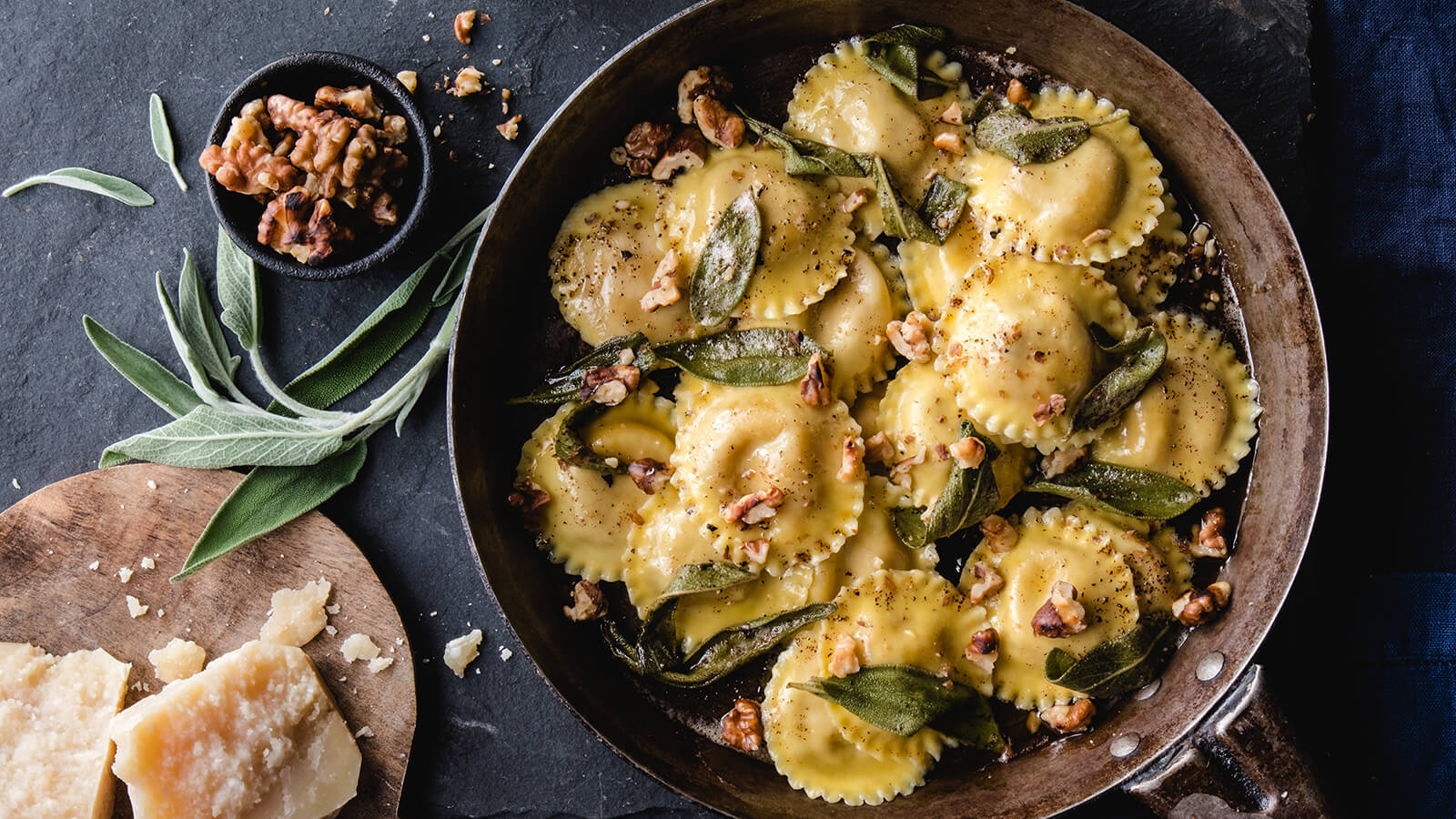 Pumpkin Sage Ravioli with Browned Butter