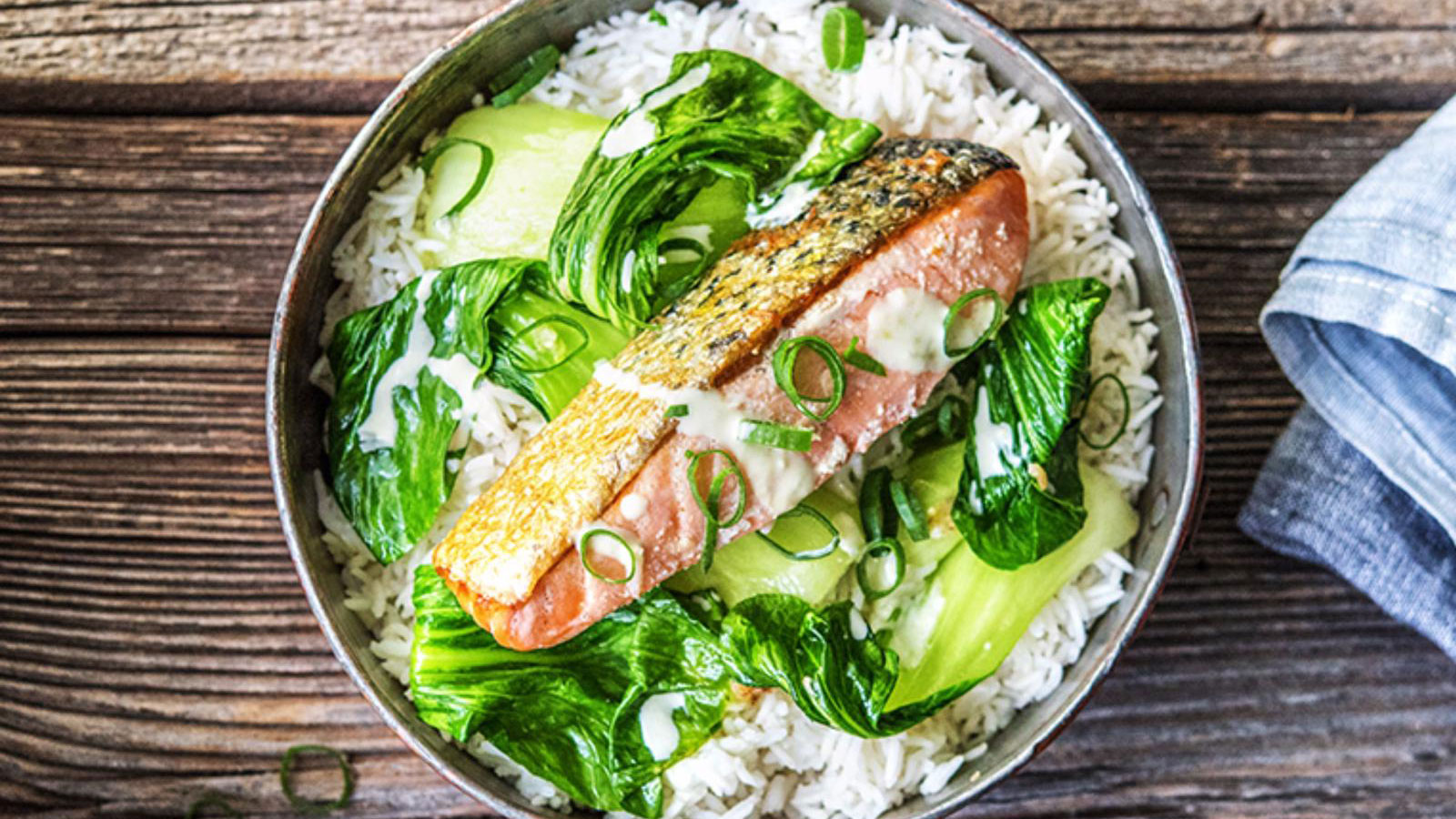 Wasabi-Lime-Salmon-over-Soy-Simmered-Rice-with-Baby-Bok-Choy