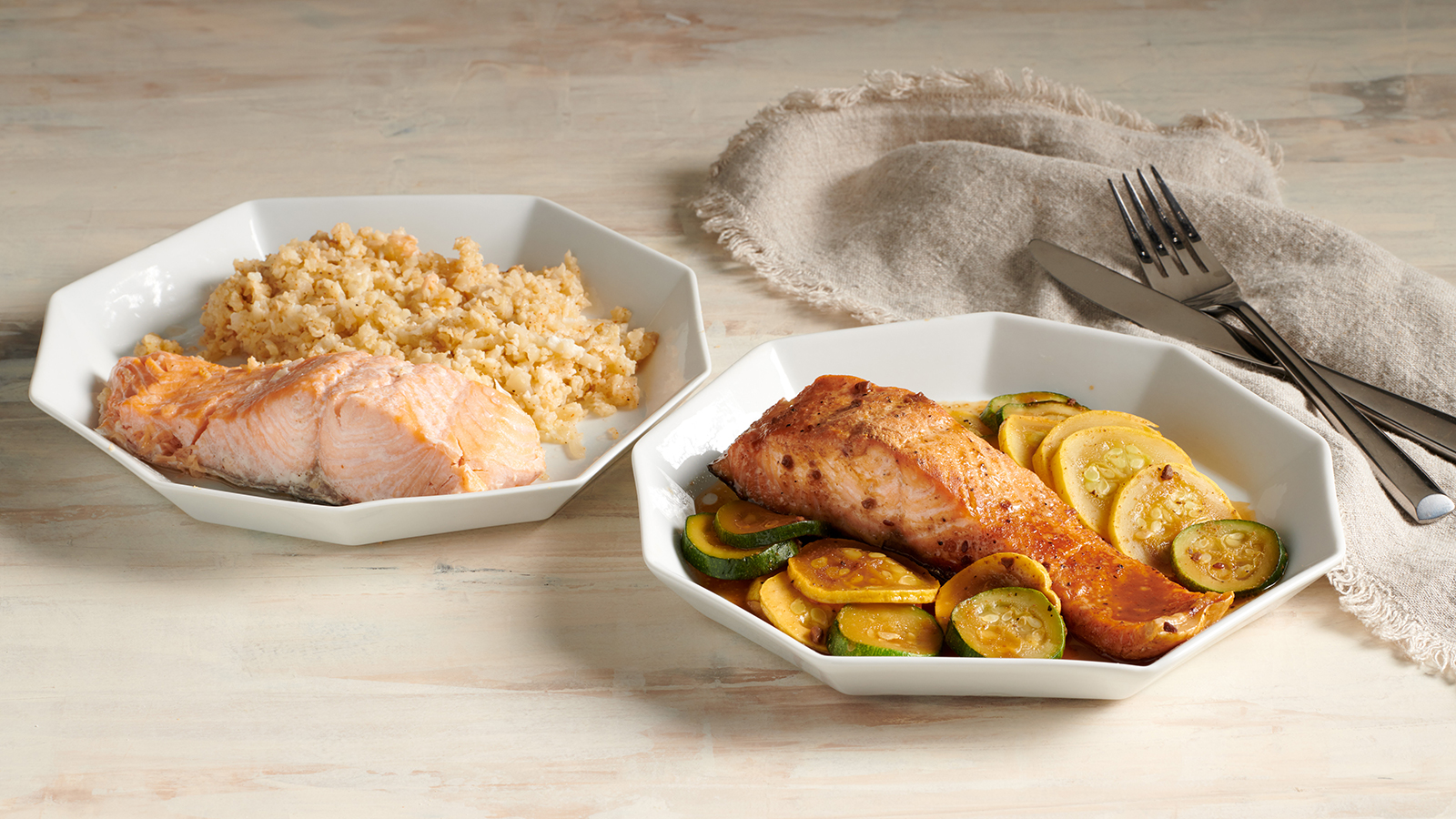 Creole Salmon with Cauliflower Rice & Korean BBQ Salmon with Zucchini and Squash Steamer Bags