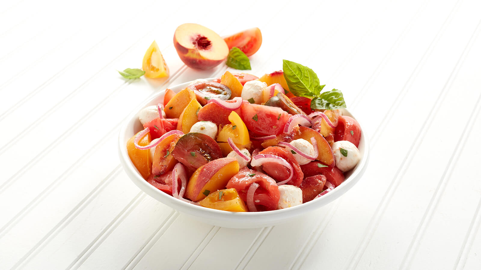 Apricot, Heirloom Tomato and Mozzarella Salad