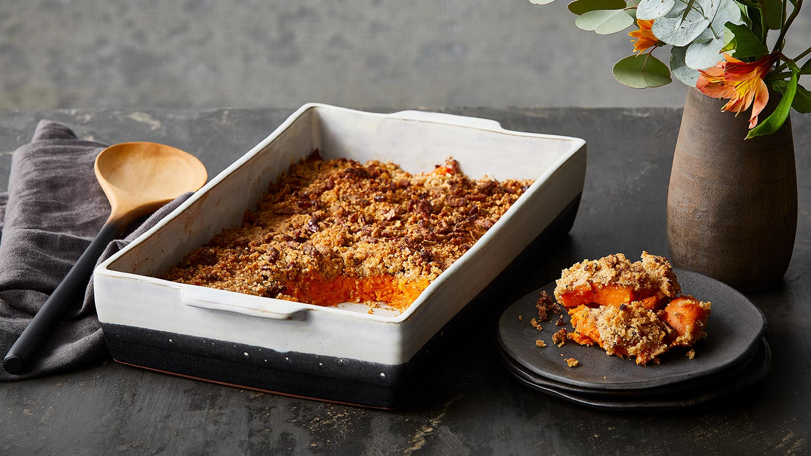 Sweet Potato Bake with Savory Rosemary and Bacon Crumble