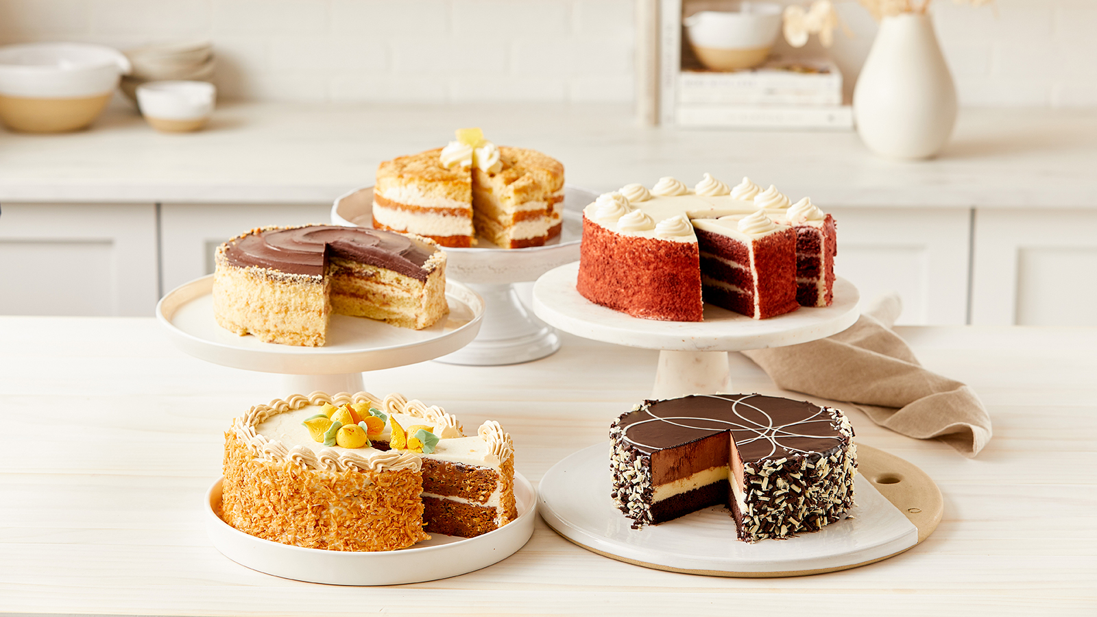 new gourmet cakes - carrot, chocolate, boston cream, pinapple, red velvet