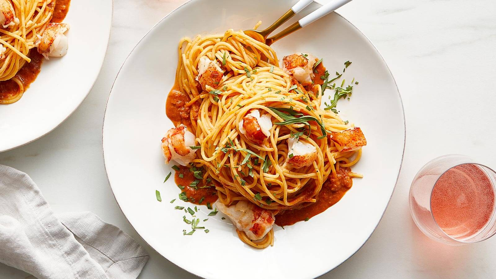 Lobster Pasta with Pink Pesto Sauce