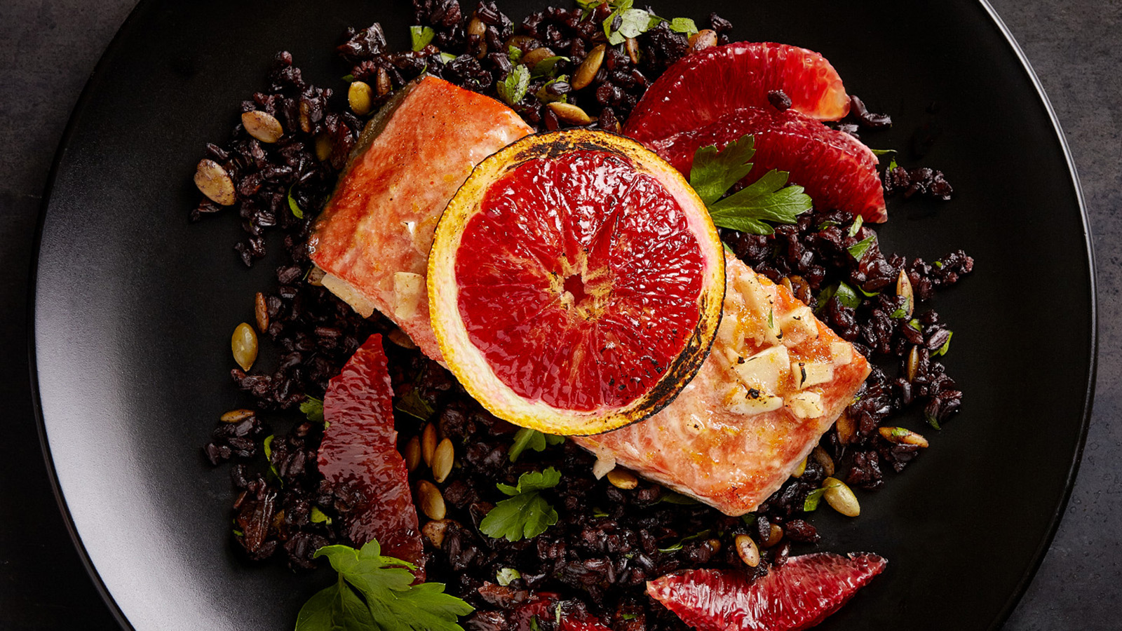 blood orange salmon with black rice
