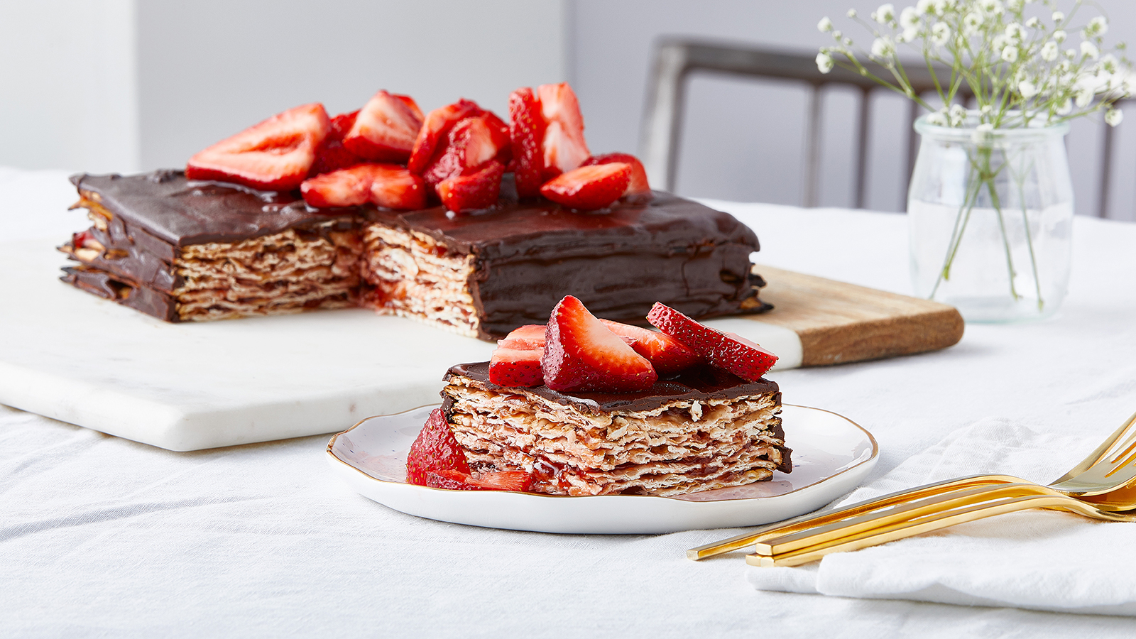 Chocolate Strawberry Matzo Cake