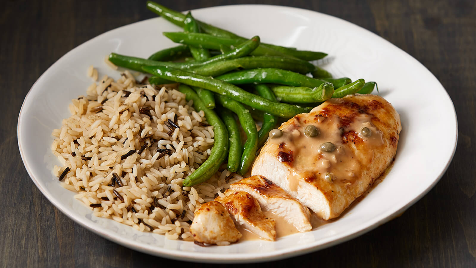 Chicken Piccata with Wild Rice Pilaf and Green Beans