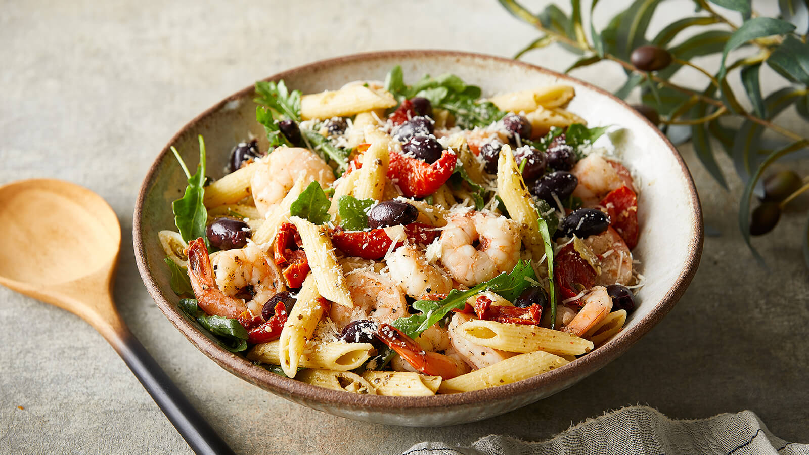 Mediterranean Pasta Salad with Arugula and Shrimp