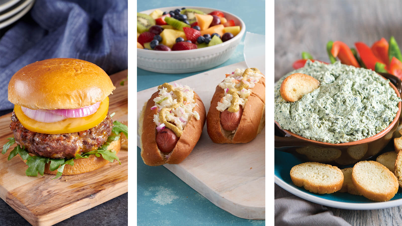 burgers, hot dogs, dips for tailgating