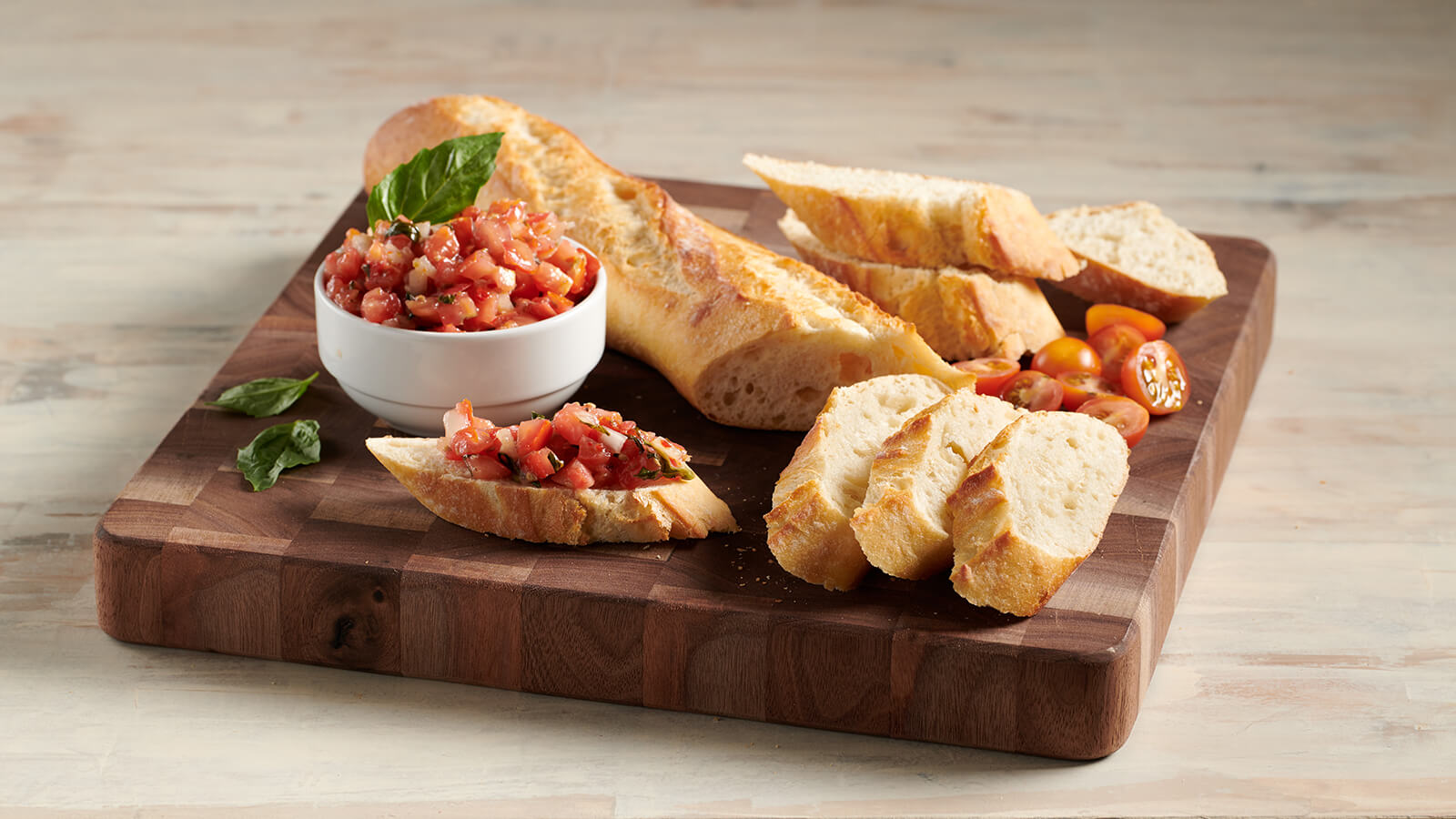 Bruschetta and Artisan Baguette