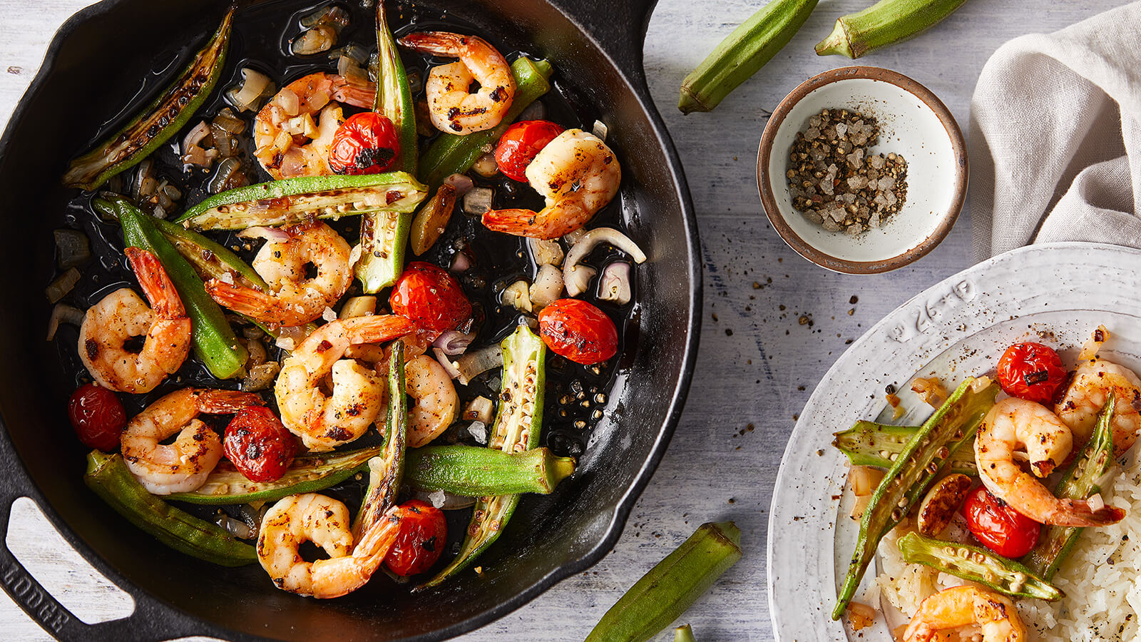 Easy Shrimp, Okra and Tomato Sauté