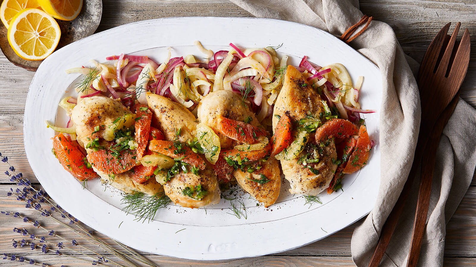 Braised Chicken Breasts with Fennel and Winter Citrus Salsa