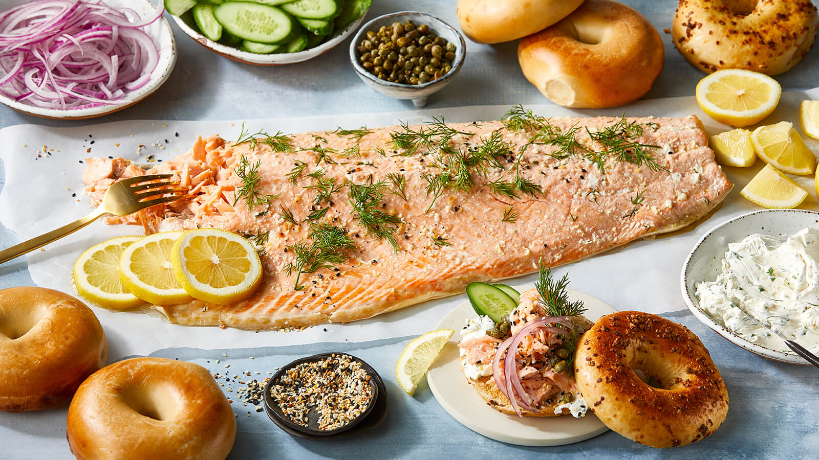 Slow Roasted Salmon with Herbed Everything Cream Cheese and Bagels