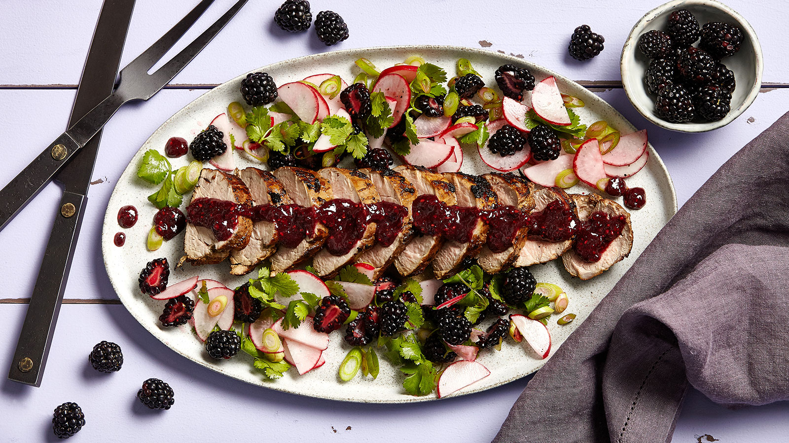 Spicy Blackberry Pork Tenderloin with Blackberry Salsa