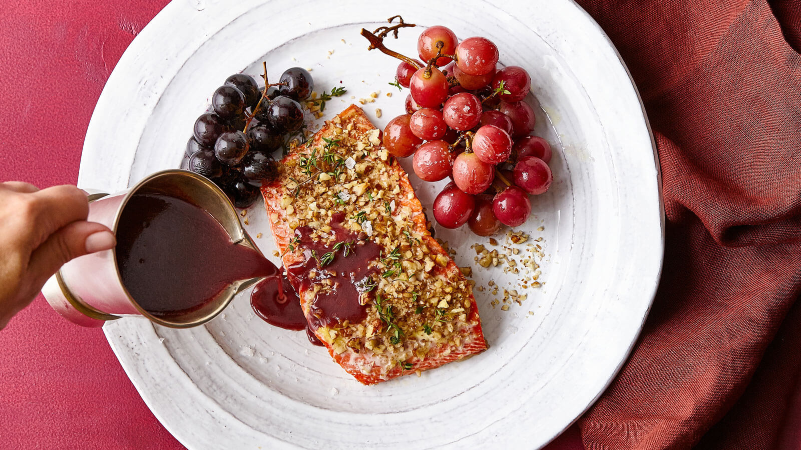 Pecan-Crusted-Wild-Salmon-with-Roasted-Grapes-and-Red-Wine-Sauce