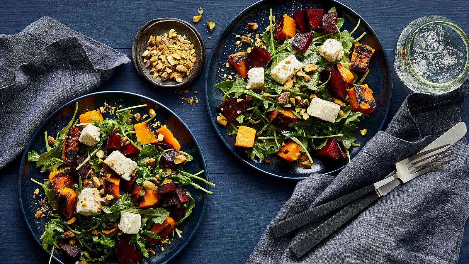 Roasted Butternut Squash Salad with Beets and Marinated Goat Cheese